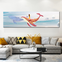 Nordic Watercolor Cartoon Whale Fish and Girl Canvas Painting Poster Print Ocean Wall Picture For Kid Room Home Decorative Mural