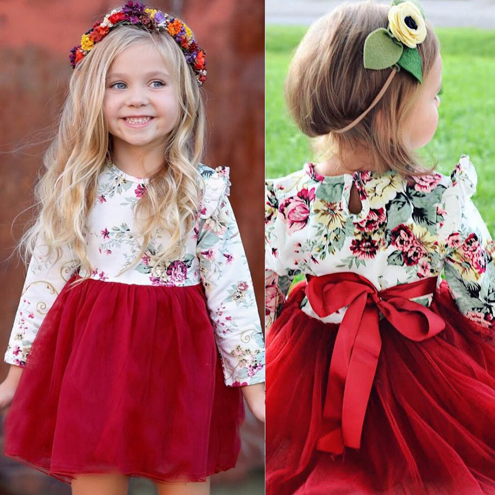 New Fashion Cute Toddler Kid Baby Girl Floral Long Sleeve Tulle Tutu Princess Dress Outfit party photoshoot Red vestido infantil 2017 fashion summer hot sales kid girls princess dress toddler baby party tutu lace bow flower dresses fashion vestido