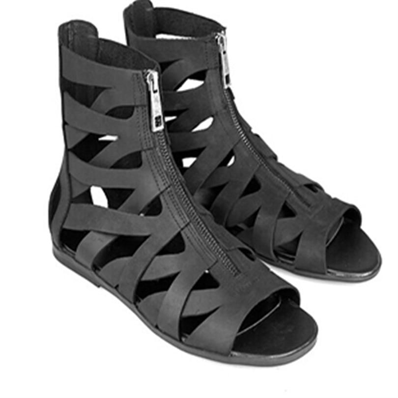 купить 2018 Men Sandals Hot Cozy Summer Ankle Boots Front Zipper Men Shoes Hallow Out Men Gladiator Open Toe Brand Runway Shoe Big Size по цене 5219.49 рублей