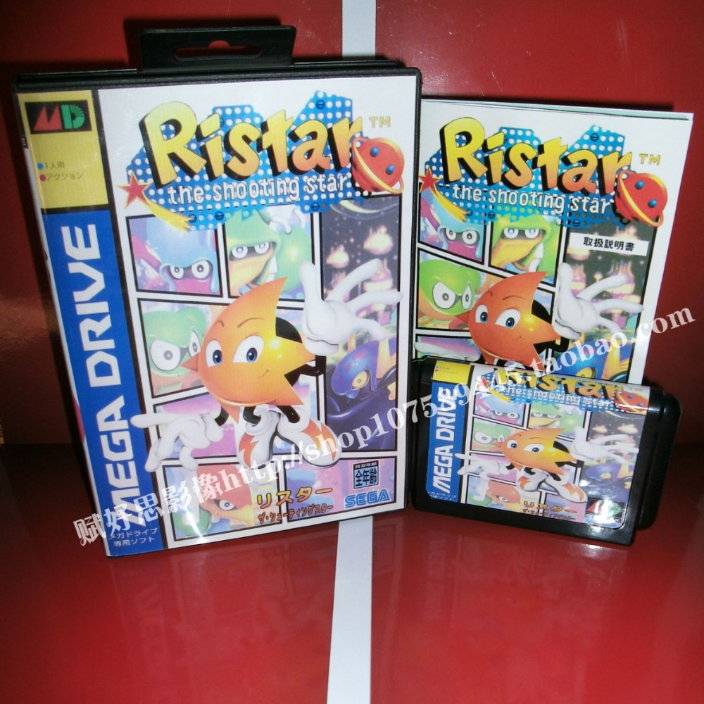 Ristar Game cartridge with Box and Manual 16 bit MD card for Sega Mega Drive for Genesis