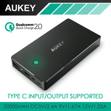 Aukey Quick Charge 2.0 Fast Charging Power Bank 20000mAh Portable External Battery Pack With Micro USB & Type C Ouput/Input 3A