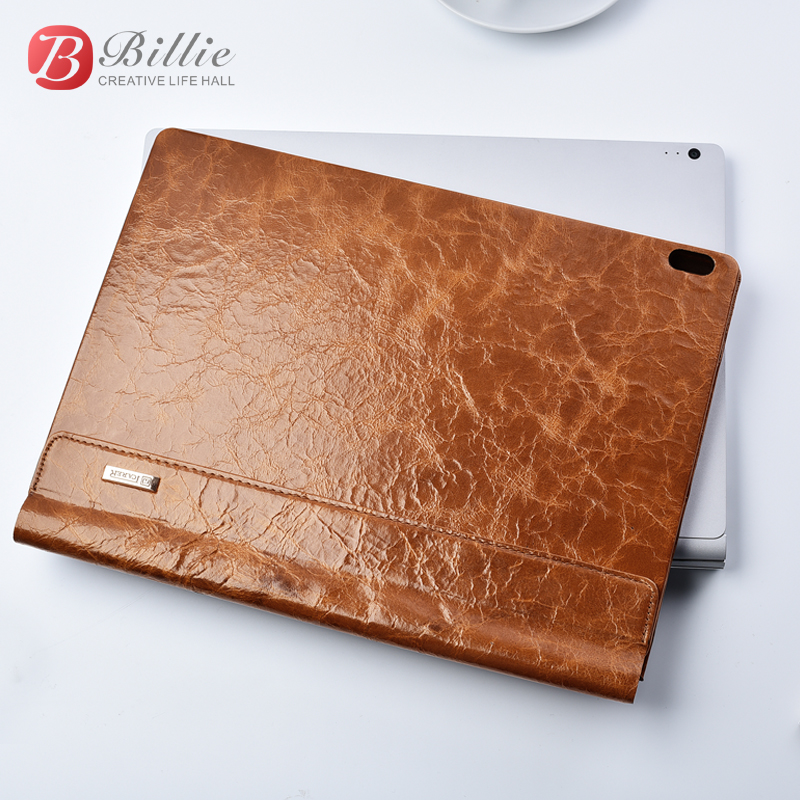 Oil Wax Vintage Cowhide Genuine Leather Case For Microsoft Surface Book 2 13.5 2018 Business Protective Stand Cover for Book 2 ...
