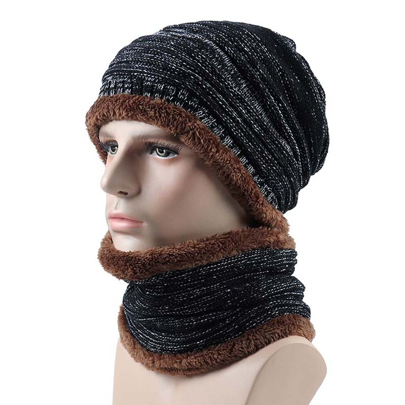 Mens Winter Beanie Hat Scarf Set Skullies Soft Thick Double Color Warm Baggy Cap Mask Fall Snow Windstope Hats Women Knitted Hat