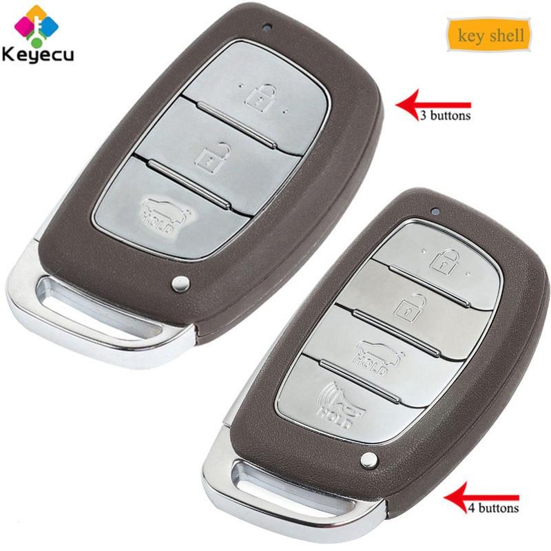 KEYECU Replacement Smart Remote Car Key Shell Case   3/ 4 Buttons & Uncut Blade   FOB for HYUNDAI IX25 IX35 Elantra Sonata Verna Car Key     - title=
