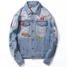 Fashion Streetwear Men Jacket Retro Blue Patches Designer Destroyed Ripped Denim Jackets Casual Coat Hip Hop Homme