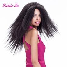 インチロング変態ストレートかつら合成レースの前部かつら耐熱側部自然な髪のかつら黒人女性のための 24 lulalatoo