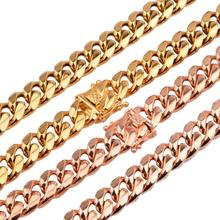 New Arrival 14mm Rose Gold/Gold Stainless Steel Miami Curb Cuban Chain Necklaces Mens Casting Dragon Lock Clasp jewelry 18 26 31mm new huge duty strong stainless steel silver gold lock buckle pet dog cuban curb chain training choke collar pit bull