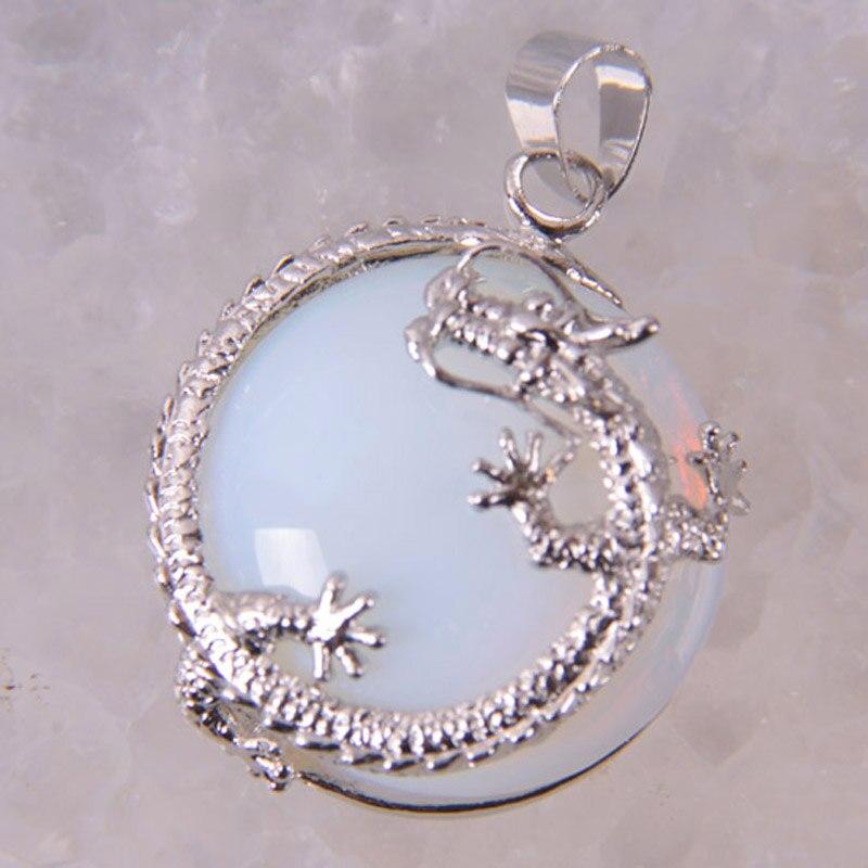 Opal Bead GEM Pendant Jewelry Dragon S465
