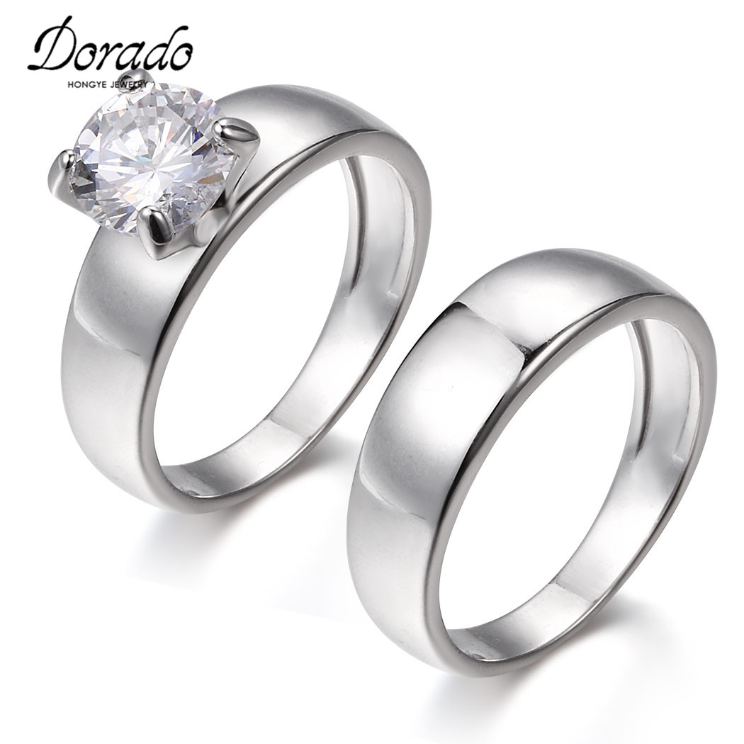 dorado top quality couple rings brand designer austria crystal wedding engagement rings for lover cheap sale - Wedding Ring Designers