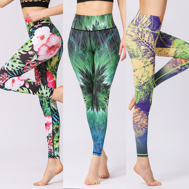 Flower Printed Yoga Pant Women High Waist Leggings Sports Tight Fitness Pants Slim Running Trousers Lady Beautiful Tights Gym