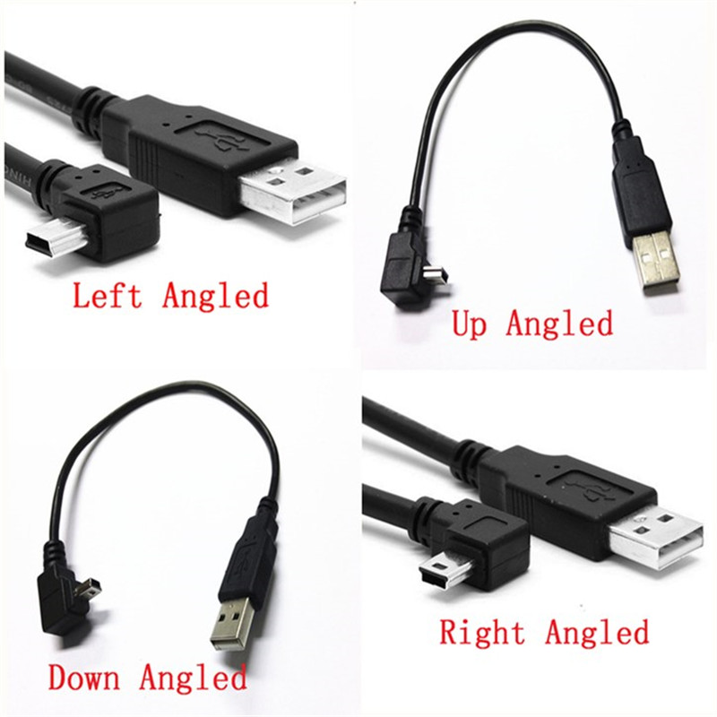 Computer Cables Mini USB B Type 5pin Male to USB 2.0 Male Data Cable with Ferrite 25cm 0.5m 1.8m 3.0m 5.0m Left Angled Right Angled 90 Degree Cable Length: 50cm, Color: Left