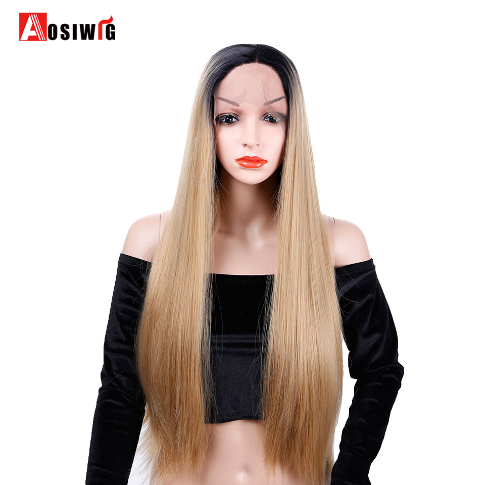Синтетический Ombre длинные прямые волосы Синтетические волосы на кружеве парик костюм в ...