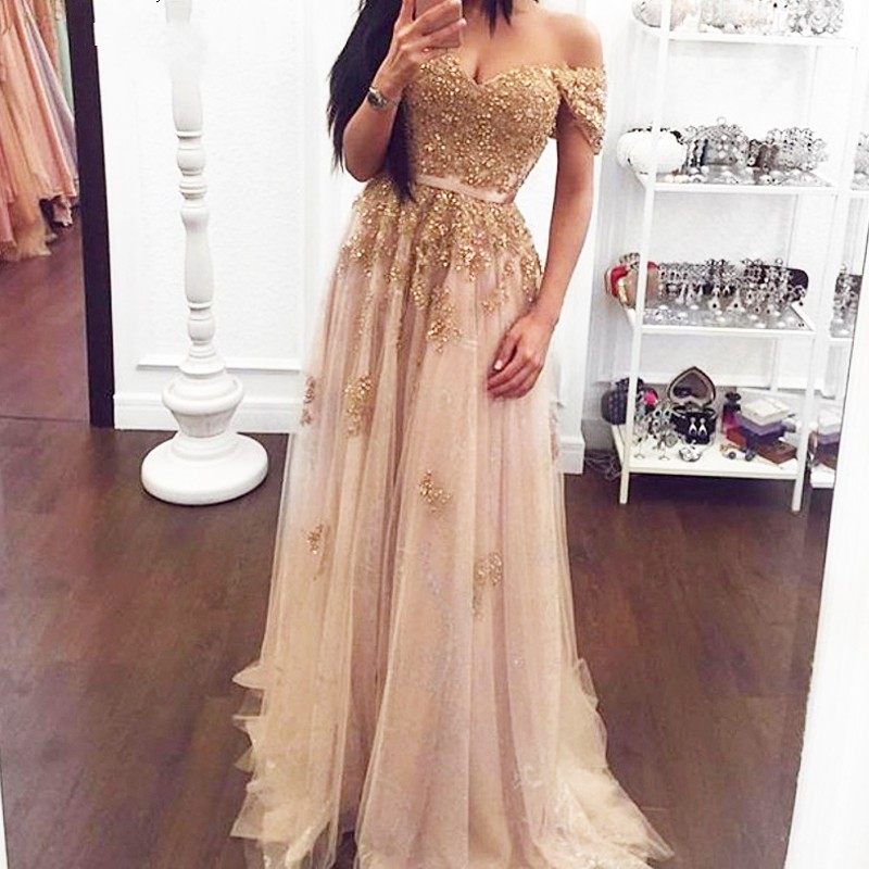 DZW263 Sparkle Gold Beaded Lace Long   Evening     Dresses   2019 Fashion Appliques A-line   Evening   Gowns Off Shoulder Lady Formal   Dress