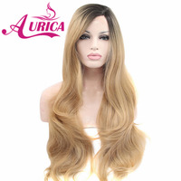 Aurica Ombre Blonde Heat Safe Synthetic Hair Lace Front Wig with Short Brown Roots