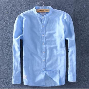 Schinteon Men Spring Summer Cotton Linen Shirt Slim Stand Collar Comfortable Undershirt Male Plus Size Top Quality Free Shipping 1