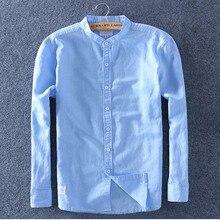 Schinteon Men Spring Summer Cotton Linen Shirt Slim Stand Collar Comfortable Undershirt Male Plus Size Top Quality Free Shipping