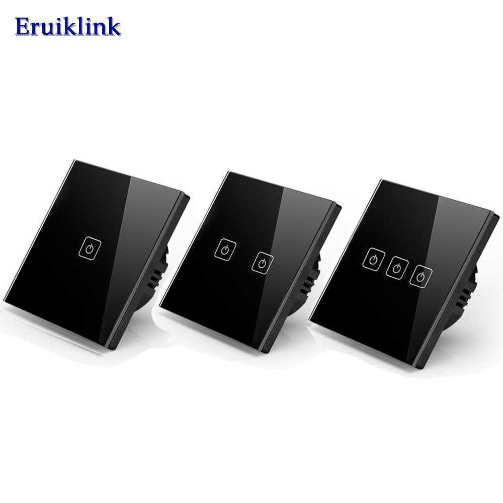 Eruiklink EU/UK Standard Touch Switch,Crystal Glass Panel Black Fireproof Wall Light Switch 1/2/3 Gang 1 Way for Smart Home funry uk standard 1 gang 1 way smart wall switch crystal glass panel touch switch ac 110 250v 1000w for light