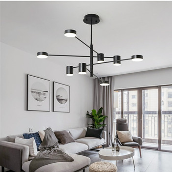 4/6/8 Heads Modern Living Room Led Chandelier Creative Adjustable Bedroom Coffee Shop Decr Hanging Light Fixtures Free Shipping