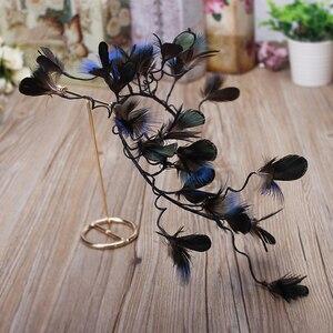 Image 3 - Haimeikang nowe barokowe pióra do włosów opaska stroik panna młoda paw Lupin Tiara dzikie Cheongsam świąteczne akcesoria do włosów
