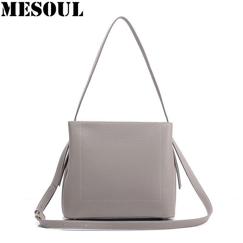 купить Hot Fashion Handbag Women Genuine Cow Leather Messenger Bags Designer High Quality Gray Shoulder Bag For Ladies Crossbody Bags онлайн