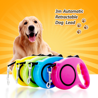 3M 5M One Handed Lock Retractable Dog Leash Automatic Extending Pet Walking Leads For Small Medium