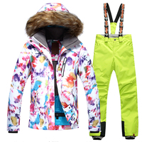 Winter Gsou Snow 2017 NEW Women Ski Suit Super Warm Clothing Skiing Snowboard Jacket Pants Suit