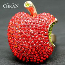 Chran Red Apple Design Finger Jewelry Rings for Women Elegant Lady Gifts Gold Color Crystal Promised