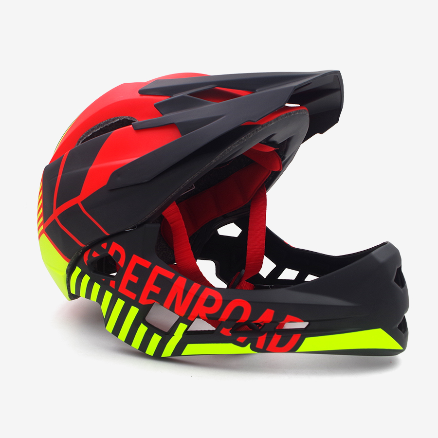 Red children Adult cycling helmet fullface OFF-ROAD DH mountain mtb Bike Helmet man visor kids full face downhill bicycle helmet 12 14 16 kids bike children bicycle for 2 8 years boy grils ride kids bicycle with pedal toys children bike colorful adult