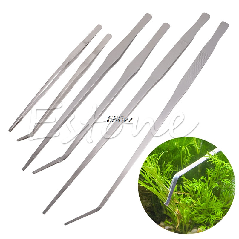 27/38/48cm Fish Tank Tongs Aquarium Stainless Steel Live Plant Tank Tweezers N27 Drop Ship