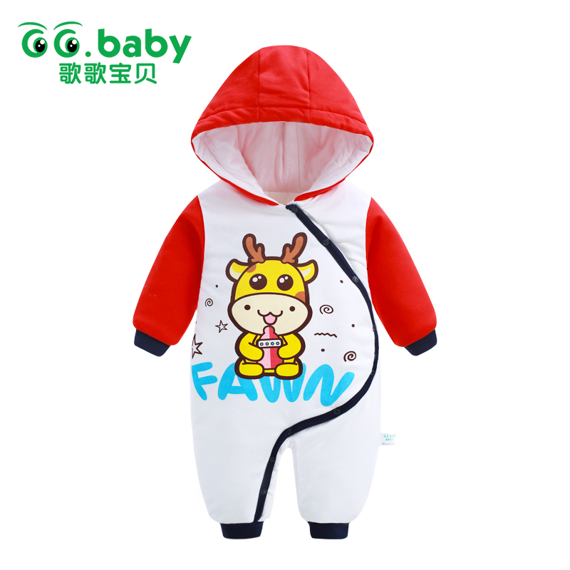 2017 Newborn Hooded Winter Jumpsuit Baby Rompers Baby Boy Romper Cotton Baby Clothes One-piece Outwear Warm Baby Boys Jumpsuits newborn baby boy winter rompers long sleeve cotton clothing toddler baby clothes romper warm cartoon jumpsuit baby boys pajamas