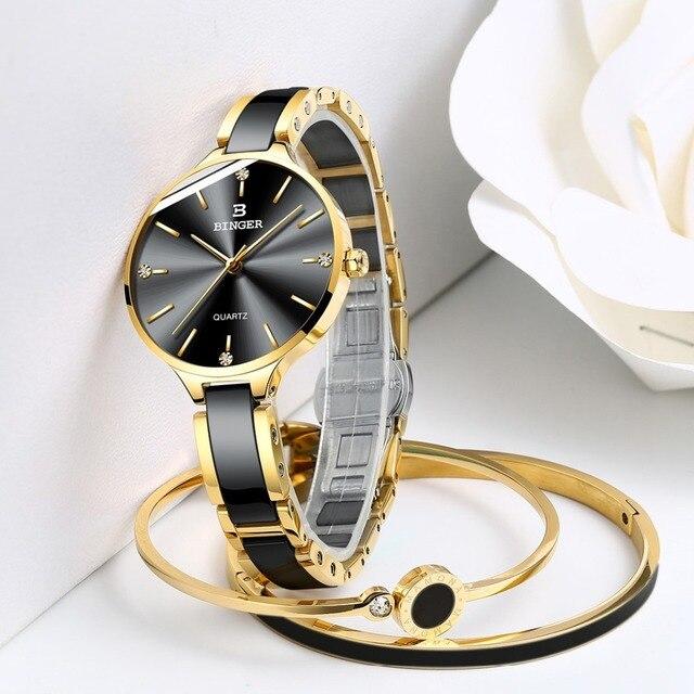 Zegarek damski Switzerland BINGER Fashion Women Watch Luxury Brand Bracelets Ceramic Watch band Sapphire Waterproof Montre femme 4