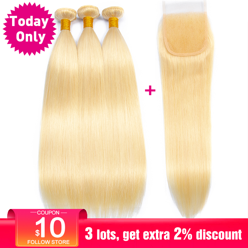TODAY ONLY Peruvian Straight Hair Bundles With Closure Blonde 3 / 4 Bundles With Closure 613 Human Hair Bundles With Closure