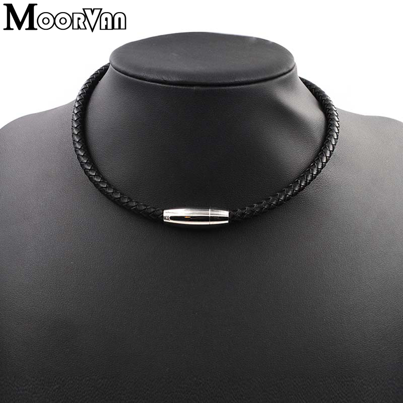 Moorvan Wholesale necklaces black with magnetic clasp genuine women leather necklace cool Korean Men Jewelry VL013