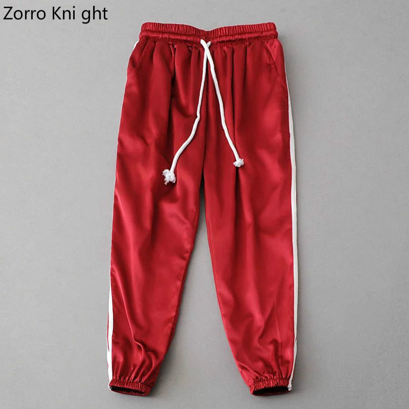 2018 Spring Summer Women Satin Casual Pink Retro White Stitching Closed Comfy Sweatpants Leisure Trousers   Pants     Capris   S-M