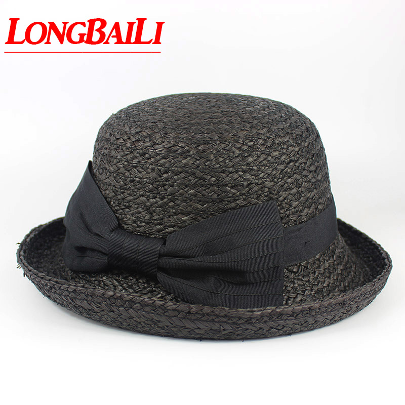 9e02d29dc281b Summer Black Raffia Straw Sun Hat Brim Curved up Round Top Women Bow Beach  Caps Free Shipping PGSX001-in Sun Hats from Apparel Accessories on  Aliexpress.com ...