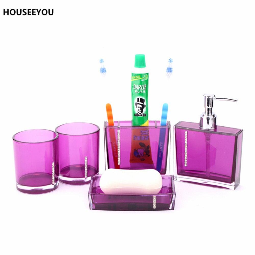 Cheap purple bathroom accessories - Bathroom Accessories Set Tumblers Toothbrush Holder Lotion Dispenser Acrylic Soap Dish Bathroom Sets 5pcs Set