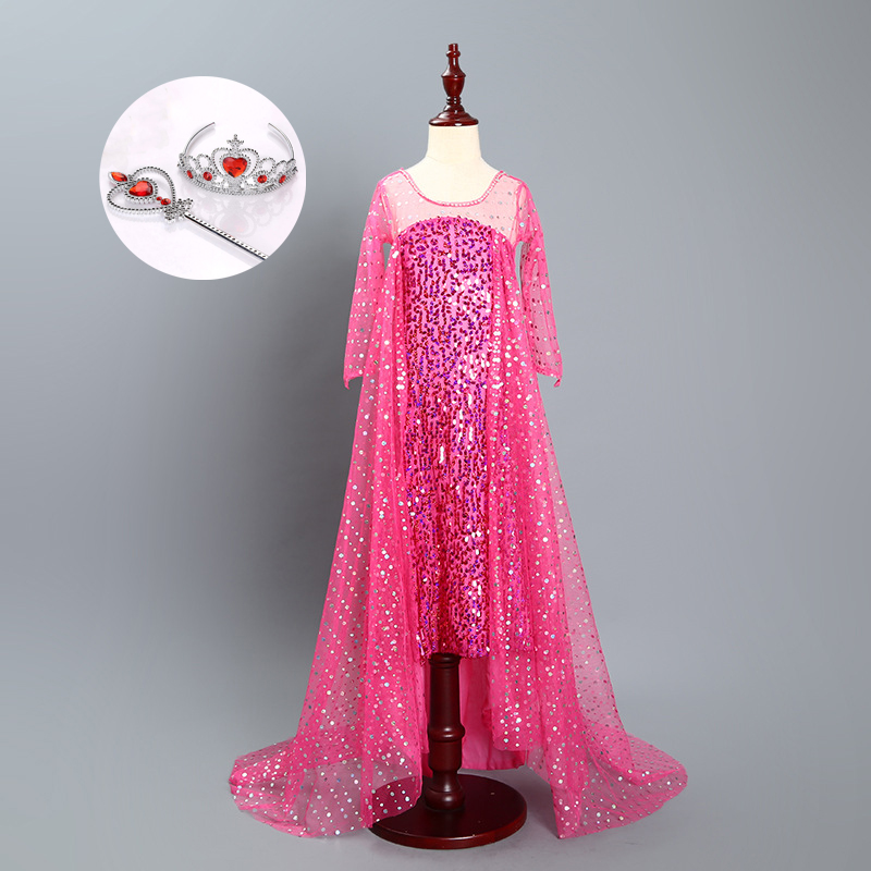Pink Blue Elsa and Anna Dress Royal Birthday Shimmer and Shine for Girls  Princess Kids Evening Dresses Long with Long Sleeves 34acabf77ac1