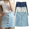Summer 2016 Women Denim Skirt Jeans Short High Waist Mini Skirt Vintage Adult Jupe Sexy fashion front row buckle cowboy skirt