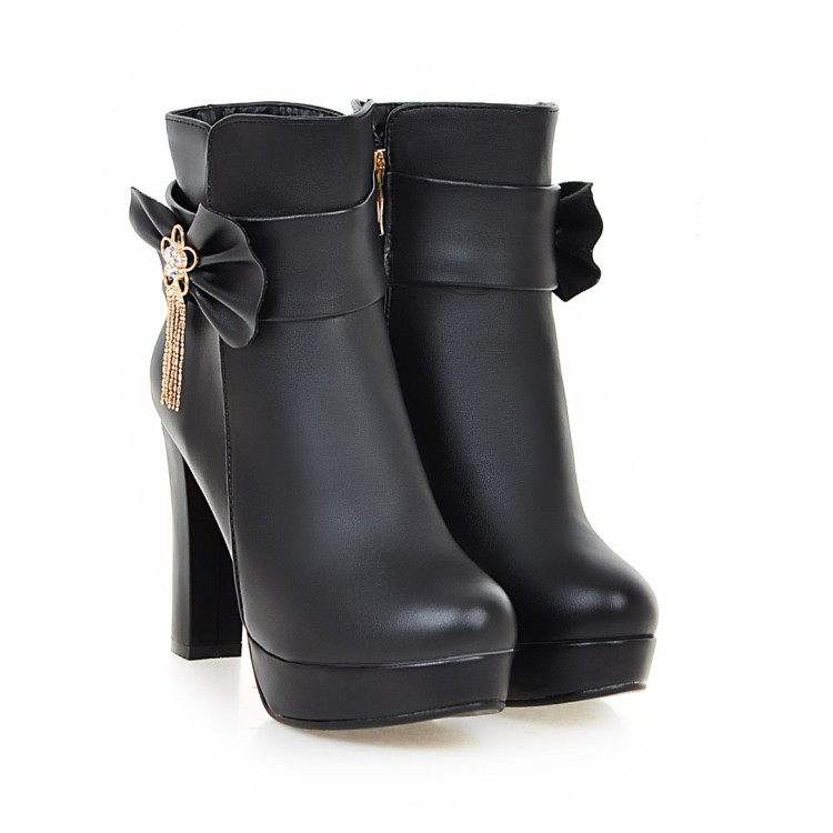 26_2016 Autumn Korean Womens Pink Dress Booties Shoes Princess Bow High Heels Black And White Platform Ankle Boots For Winter