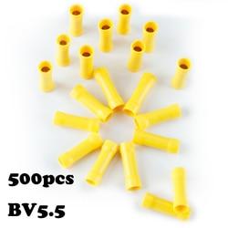 500 sztuk BV5.5 4mm2 Splice Butt przewód izolowany zaciski prosty drut złącze stykowe elektryczne zaciski