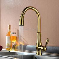 Luxury High Quality Gold Pull Out Sprayer Kitchen Bar Sink Faucet Hand Held Sprayer Mixer Solid