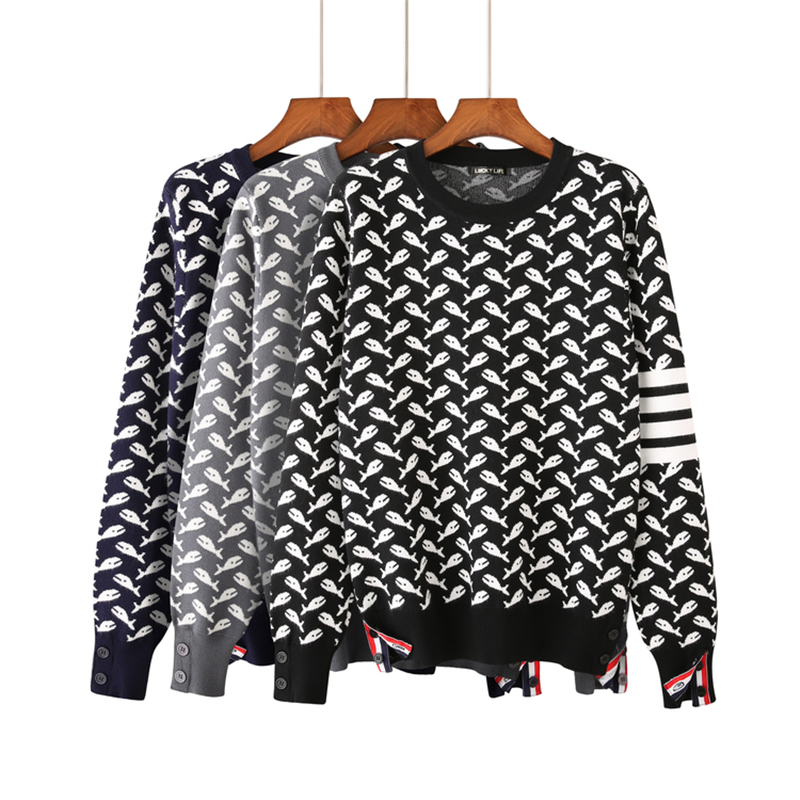 New Winter Tops Europe Knitted Cartoon Shark Sweater Women O-neck Warm Knit Sweater Women Pullover Loose Jumpers Ladies Sweaters