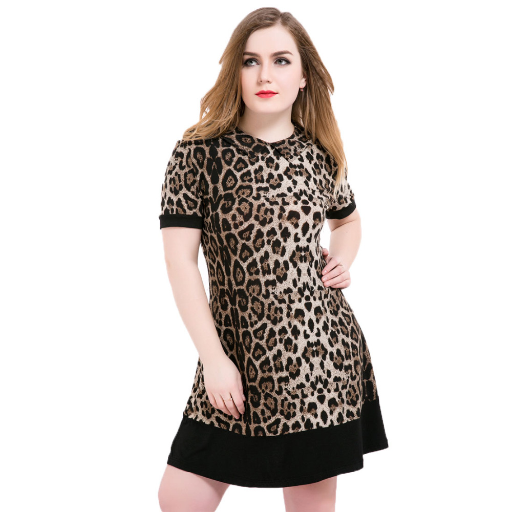 aa05ee7ad5 Leopard Dress Women Plus Size Summer Casual Dresses Women 2016 5xl 6xl  Loose Short Sleeve Turn