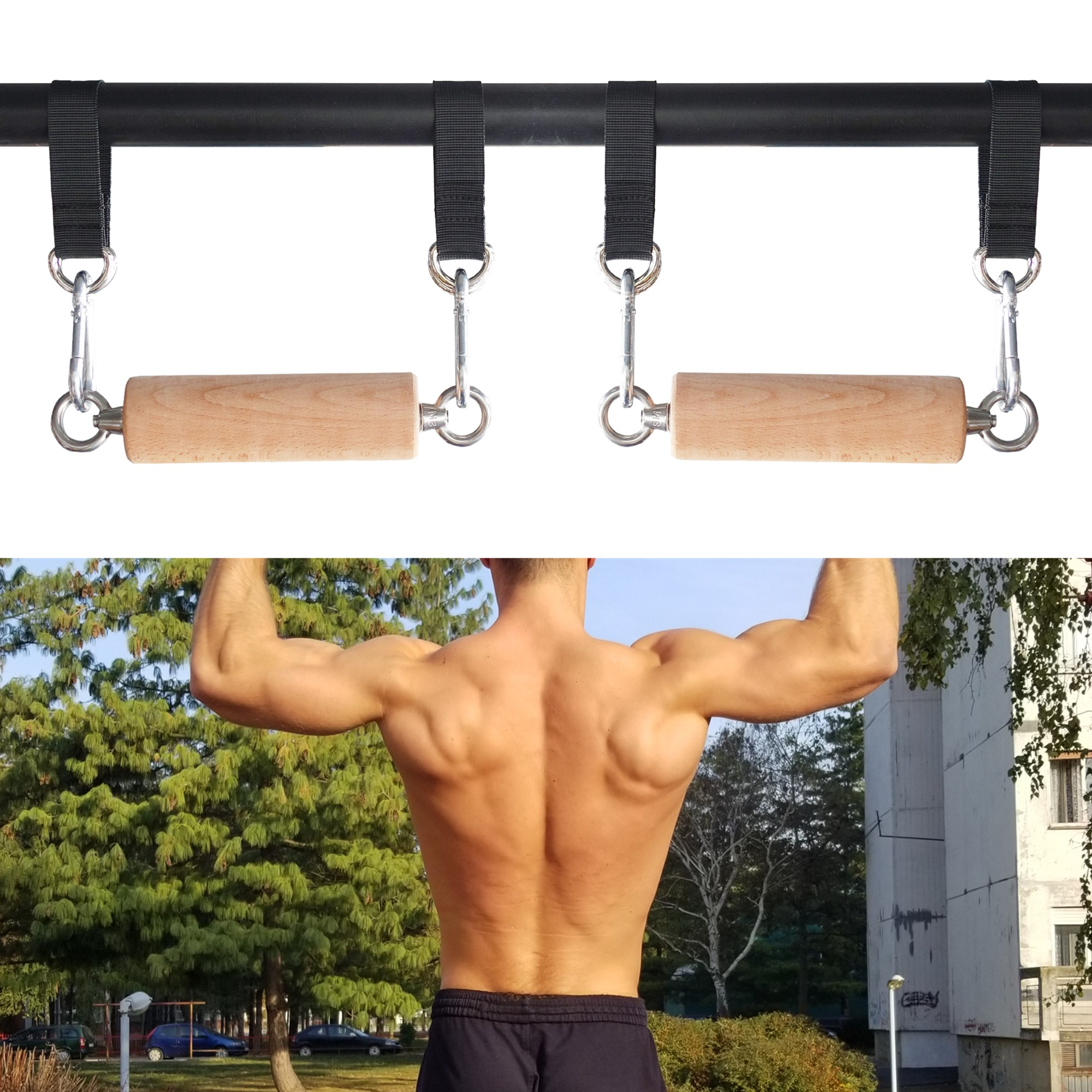 Pull Up Bar With Two Wooden Grip And Four Hanging Straps For Gym Workout Tool
