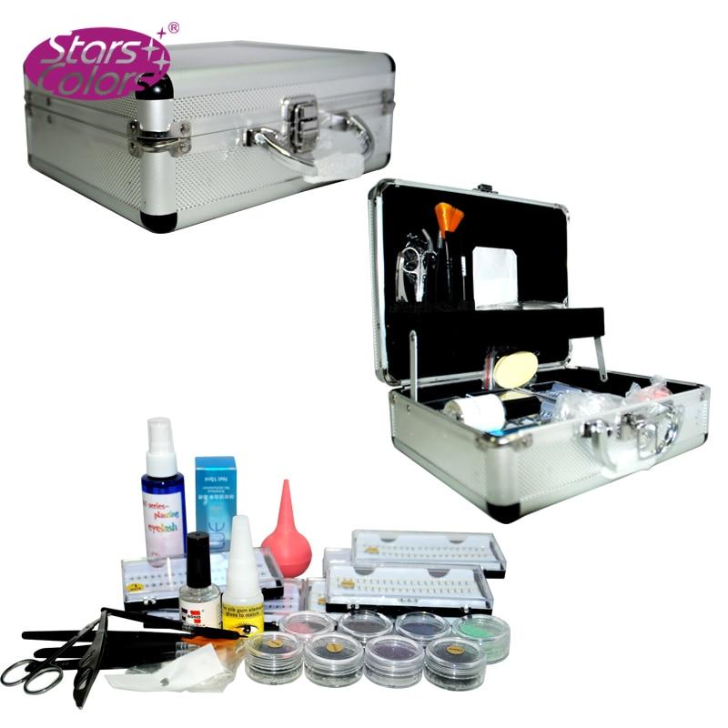 camadas duplas enxertia cilios cilios extension kit conjunto completo caso para ferramentas de beleza maquiagem