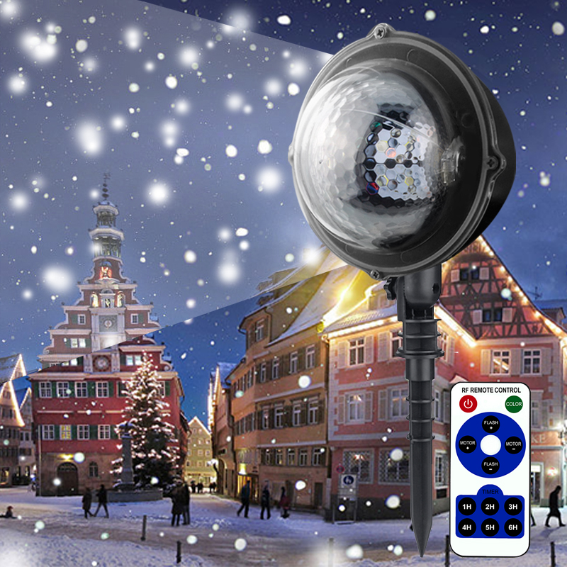 Waterproof IP65 Moving Snow Laser Projector Lamps Snowflake LED Stage Light for Christmas Party AC85V-240V недорого