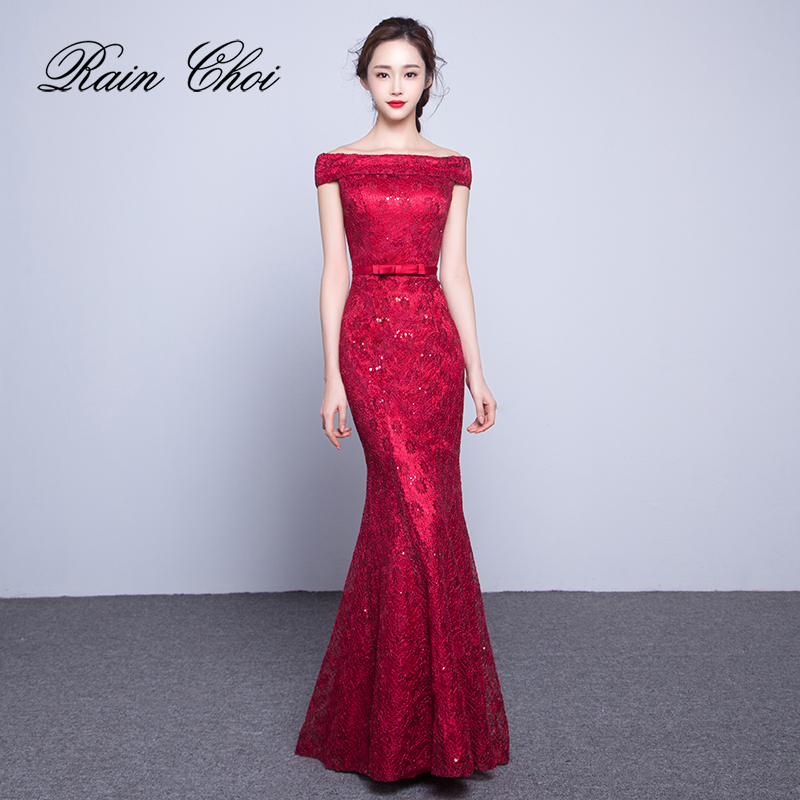 Lace   Prom     Dresses   2019 Boat Neck Elegant Formal Party Gowns Mermaid Long   Prom     Dress