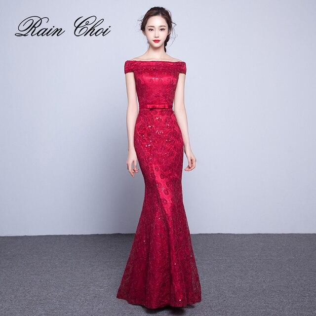 c95c171022d Кружевное платье для выпускного вечера es 2019 с вырезом лодочкой  элегантное вечернее платье Русалка длинное платье