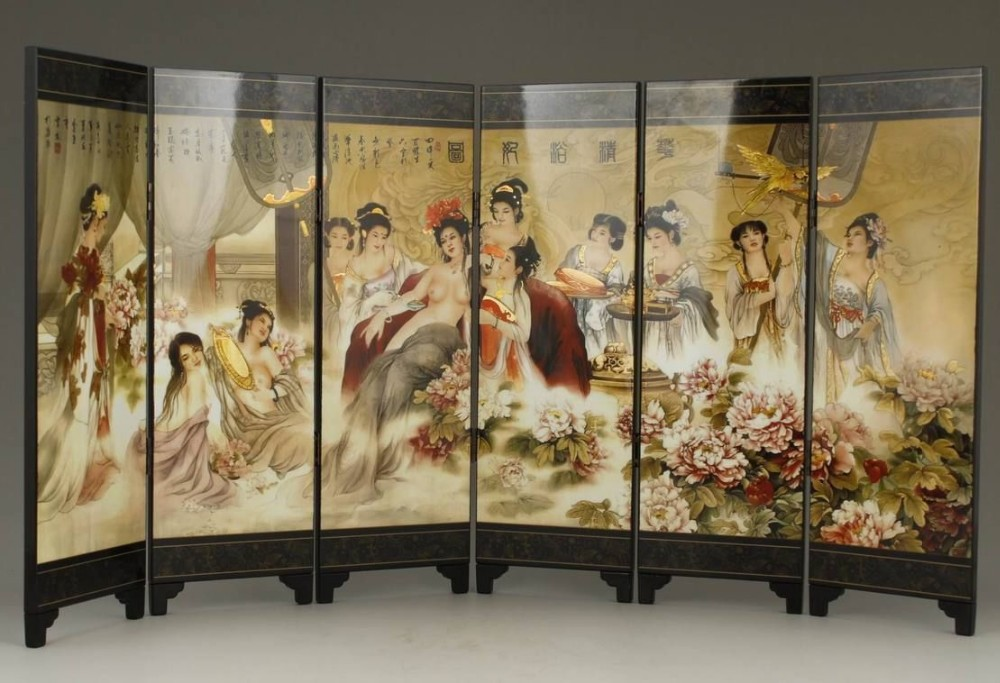 TNUKK ( Mini ) Exquisite Chinese Classical Lacquer Painting Folding Screen of Beauties is Bathing.