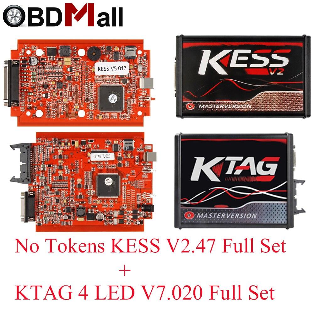 KESSV2 KESS V2 V5.017 EU Rot V2.47/V2.23 ECM Titan KTAG V7.020 4 LED Online Master Version ECU OBD2 auto lkw Programmierer werkzeug